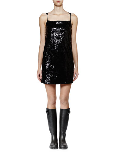 Sleeveless Embellished-Front Shift Dress, Black