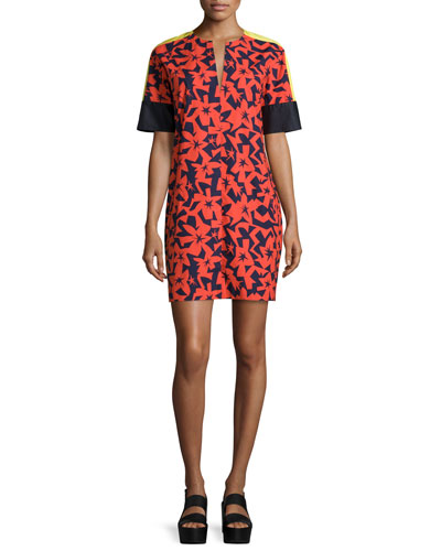Short-Sleeve Printed Shift Dress, Tangerine/Navy