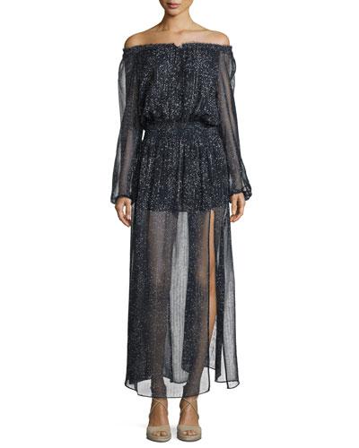 Constellation Off-The-Shoulder Lurex Chiffon Maxi Dress