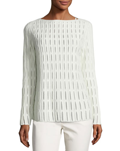 Cloud Open-Stitch Wool-Blend Sweater, Ivory, Plus Size