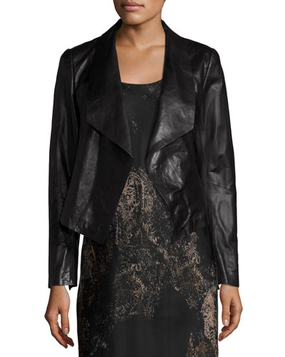 Leah Draped Leather Jacket, Black, Plus Size