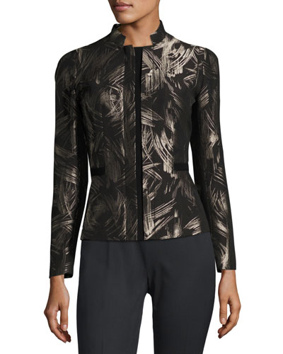 Belle Spark-Print Stretch-Wool Jacket, Multi, Plus Size