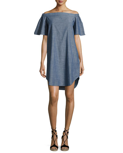 Louella Off-the-Shoulder Chambray Dress, Blue