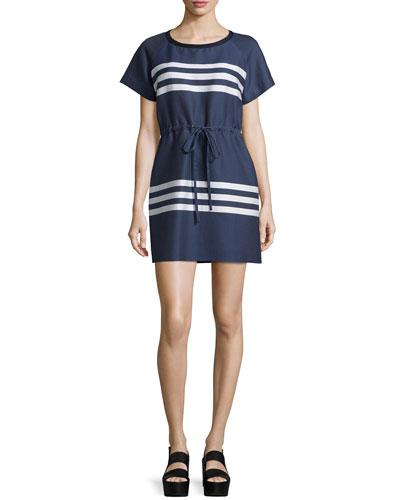 Short-Sleeve Striped Dress, Blue/Cream