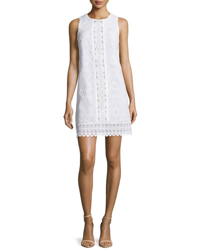 Sleeveless Lace Shift Dress, White