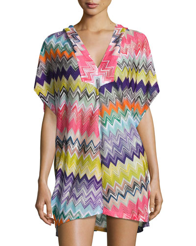 Hooded Zigzag Beach Coverup Dress, Multicolor