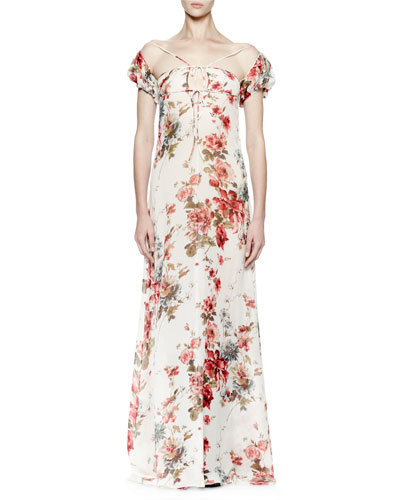 Off-The-Shoulder Floral-Print Gown, Floral