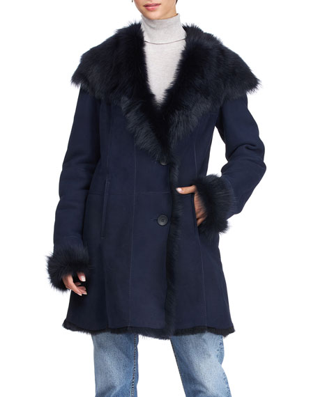 Hiso Toscana Shearling Button-Front Coat