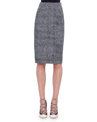 High-Waist Darted Tweed Pencil Skirt, Navy/Cream