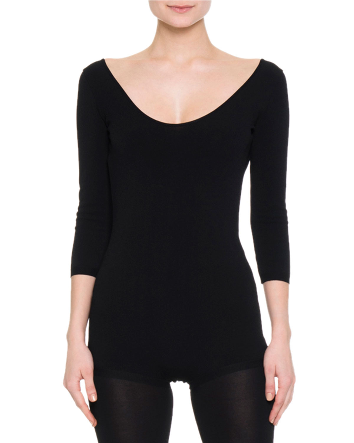3/4-Sleeve Scoop-Neck Bodysuit
