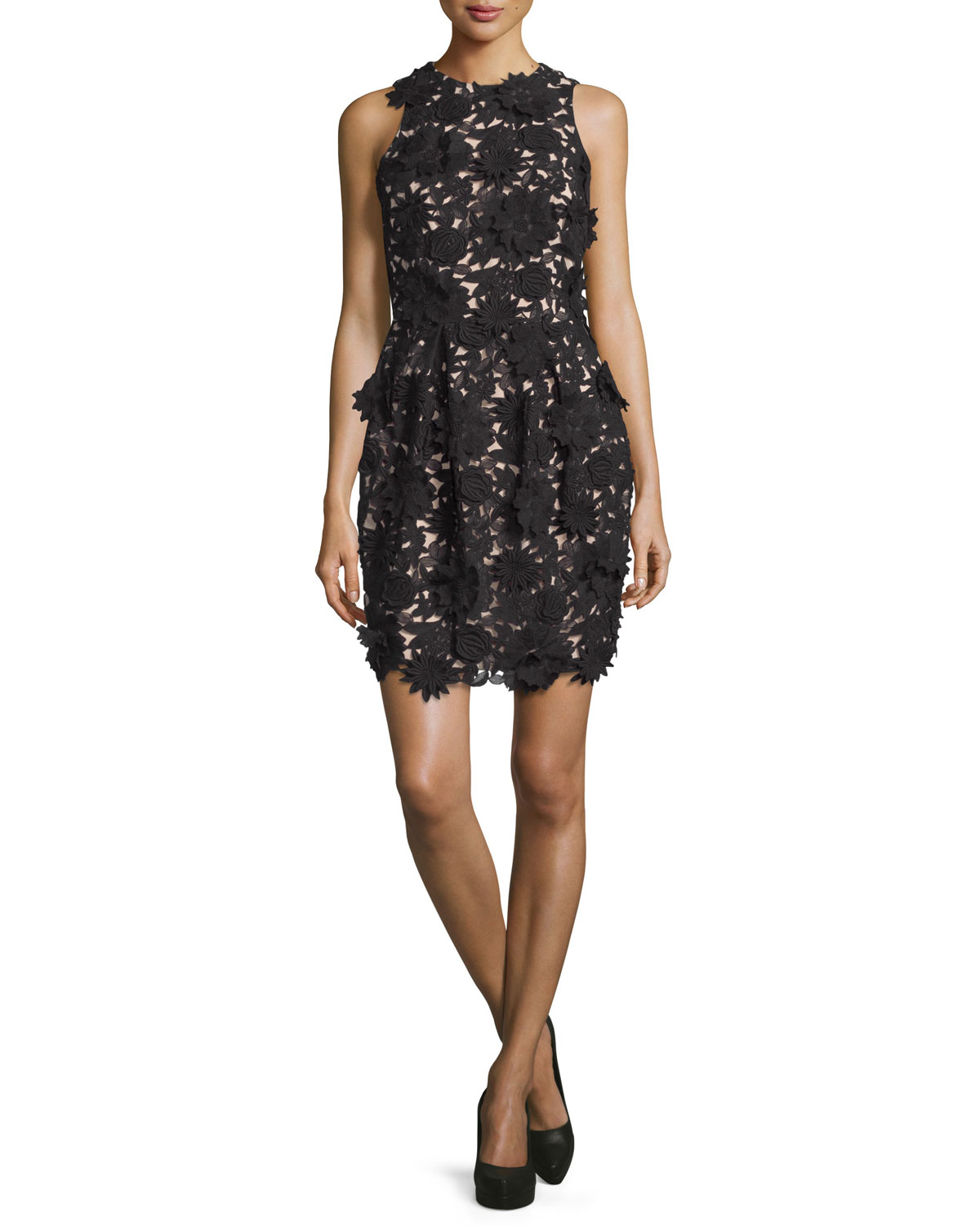 Floral-Embellished Cocktail Dress, Black/Nude