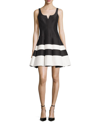 Sleeveless Striped Mikado Fit-and-Flare Dress, Black/White
