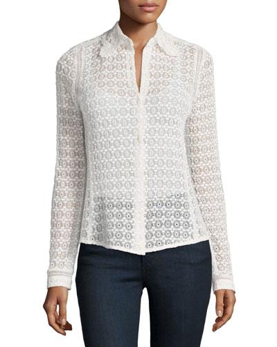 Floral Eyelet-Lace Shirt, Chalk