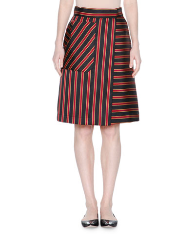 High-Waist Striped A-Line Skirt, Black/Raspberry