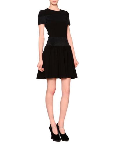 Ribbed-Inset Drop-Waist Dress