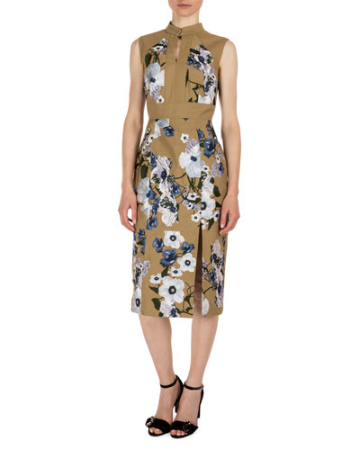 Delphine Floral-Print Keyhole Dress