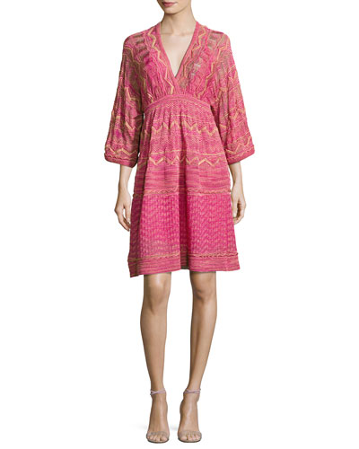 3/4-Sleeve Lurex Zigzag Dress, Pink