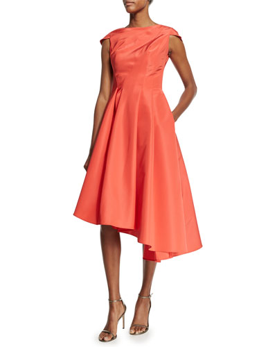 Cap-Sleeve Silk Faille Asymmetric Dress