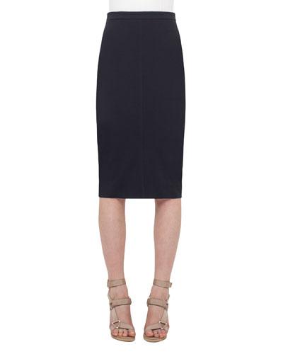 Mid-Length Jersey Pencil Skirt, Navy