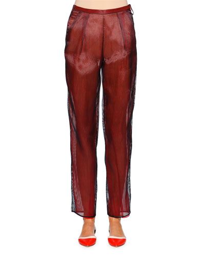 Slim-Leg Ankle Pants, Navy/Red