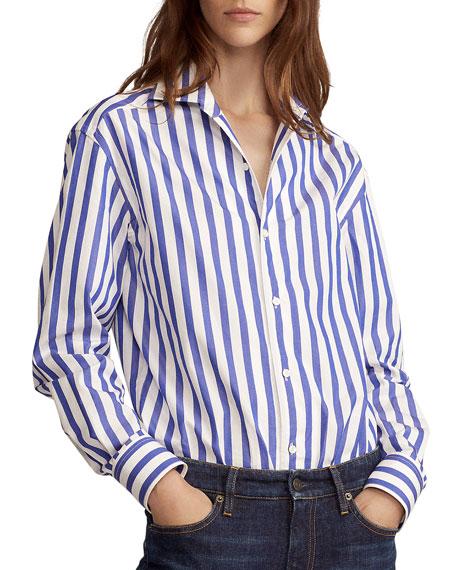 Ralph Lauren Collection Capri Striped Cotton Blouse, White
