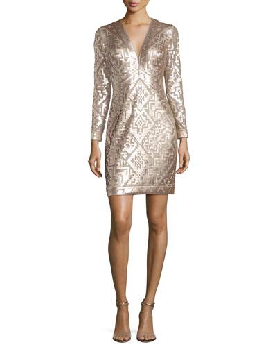 Long-Sleeve Sequin Grid Sheath Dress