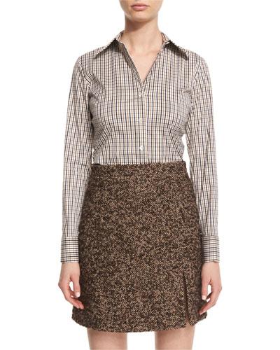 Long-Sleeve Plaid Button-Down Blouse, Brown