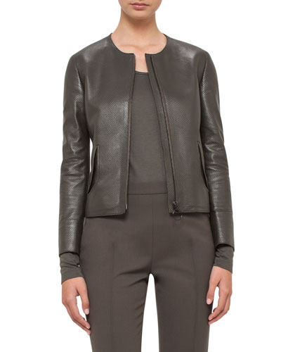 Perforated Leather Peplum Jacket, Olive