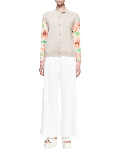 Floral-Print Long-Sleeve Cardigan, Stone/Rose/Stone