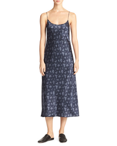 Calico Floral Silk Satin Midi-Length Slip Dress, Navy
