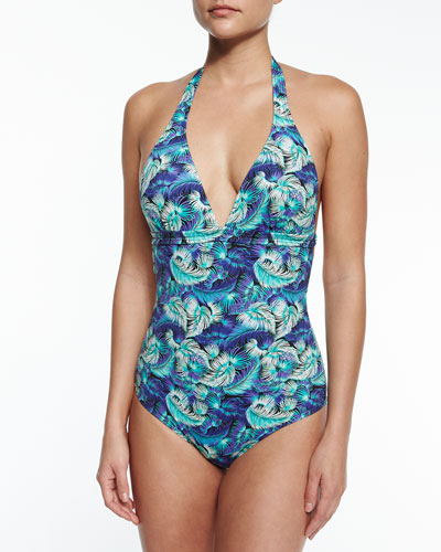 Night Shadow Feather-Print One-Piece Swimsuit, Multicolor