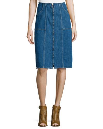 Jolla Zip-Front Denim Skirt, Blue Chambray