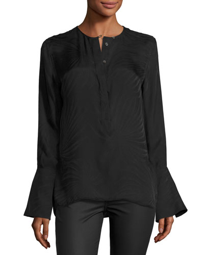 Kenley Bell-Sleeve Silk Shirt, Black