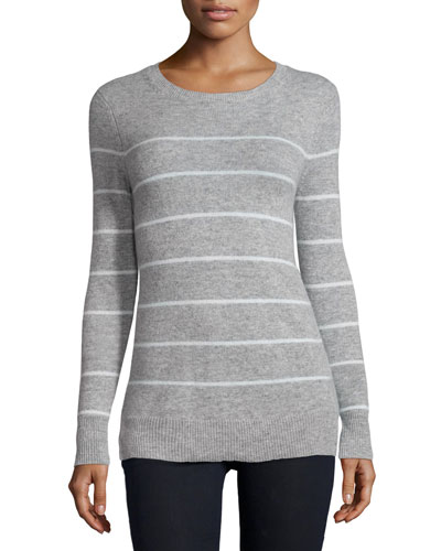 Long-Sleeve Striped Cashmere Sweater