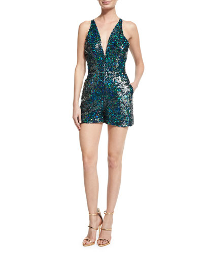 Serena Plunging-Neck Sequined Romper