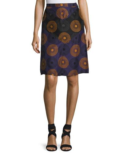 Medallion-Print Silk Skirt, Purple