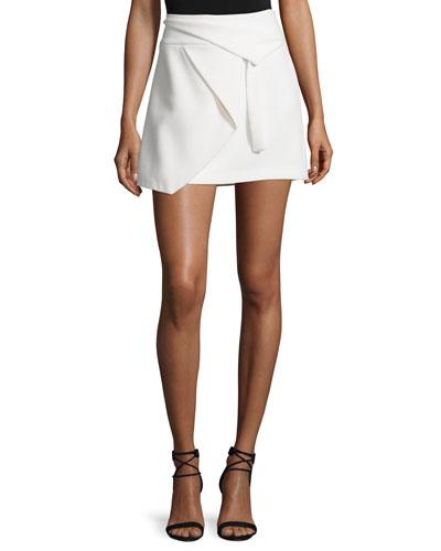 Asymmetric Draped Wrap Skirt