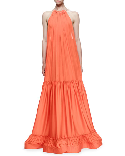 Plisse Full-Skirt Halter Gown, Poppy