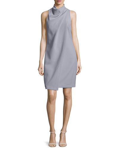 Sleeveless Mock-Neck Draped-Front Dress, Slate Gray
