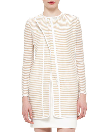 Skinny-Striped Zip-Front Long Jacket, Cord Cream