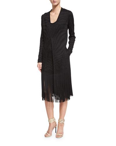 Long-Sleeve Jacket W/Fringe Trim, Black