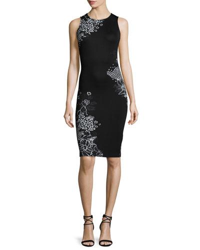 Placed Wildflower Jacquard Sheath Dress, Caviar/Bianco