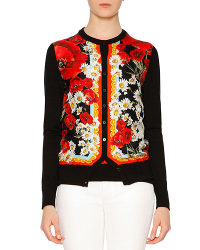 Poppy & Daisy Button-Front Cardigan, Red/White/Yellow