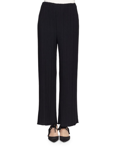 Pleated Wide-Leg Suiting Pants, Black