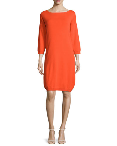 3/4-Sleeve Cotton Dress, Poppy Orange, Petite