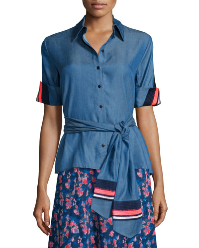 Embroidered Jia Jia Chambray Short-Sleeve Top