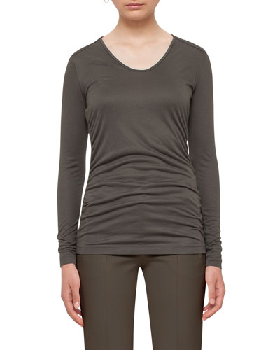 Ruched Long-Sleeve Tee, Olive