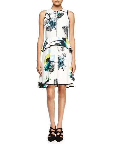 Sleeveless Ikebana-Print Peplum Dress, White/Blue/Green