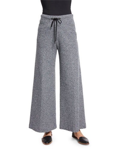 Drawstring-Waist Wide-Leg Pants, Navy