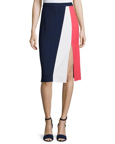 Gigi Colorblock Skirt, Navy/Pink/White